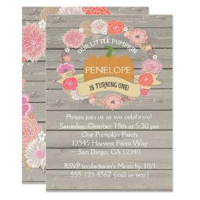 Pink Pumpkin 1st Birthday Party Invitation