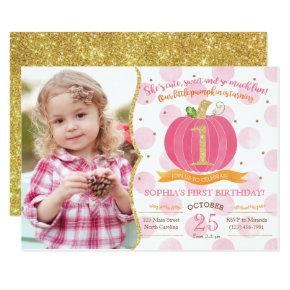 Pink Pumpkin Fall First 1st Birthday Invitations