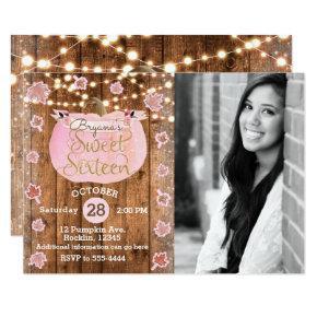 Pink Pumpkin Fall Rustic Sweet 16 Birthday Photo Invitation