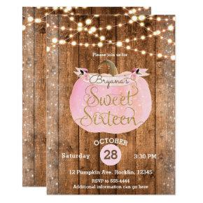 Pink Pumpkin Fall Rustic Wood Lights Sweet 16 Invitations