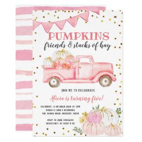 Pink Pumpkin Truck Girl Birthday Invitation