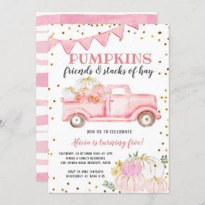 Pink Pumpkin Truck Girl Birthday Invitation