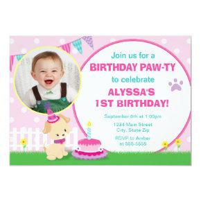 Pink Puppy Dog Birthday Invitation 5x7 Photo Card