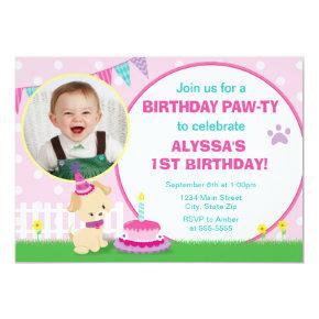 Pink Puppy Dog Birthday Invitation 5x7 Photo Card