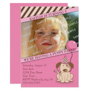 Pink Puppy Party Photo Template