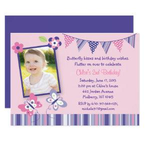 Pink & Purple Butterfly 1st Birthday Card