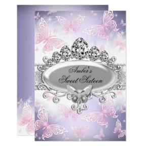 Pink & Purple Butterfly Sweet Sixteen Invite