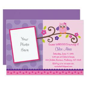 Pink & Purple Owl 1st Birthday Invitations