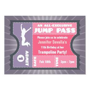 Pink & Purple Trampoline Jump Pass Invitations