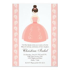 Pink Quince Dress Brunette Quinceanera Invitations
