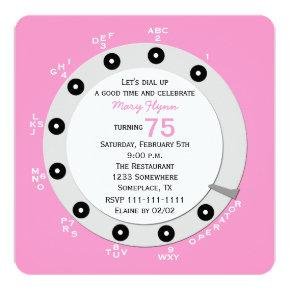 Pink Retro 75th Birthday Party Invitation Rotary