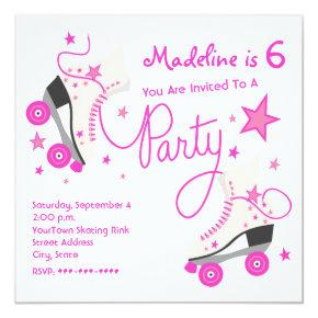 Pink Roller Skate Party Invitations