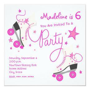 Pink Roller Skate Party Invitation