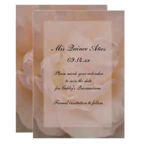 Pink Rose Floral Quinceañera Save the Date Card