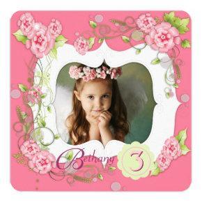 Pink Rose Girls Photo 3rd Birthday Party Invitation