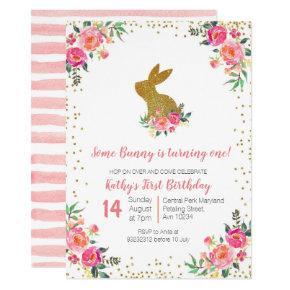 Pink Rose Gold Bunny Birthday Floral Invitation