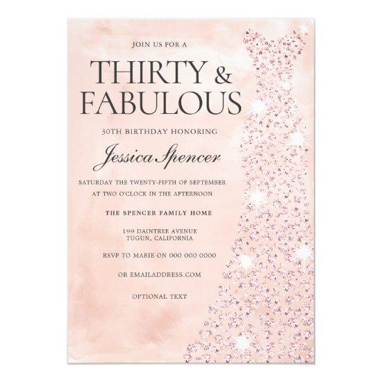 Pink Rose Gold Dress 30 Fabulous 30th Birthday Invitation