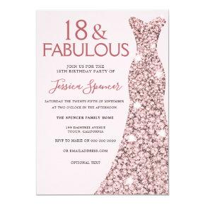 Pink Rose Gold Dress Girls 18th Birthday Party Invitation
