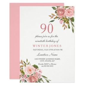 Pink Rose Gold Flowers 90th Birthday Party Invite