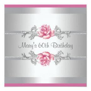 Pink Rose Womans Birthday Party Card