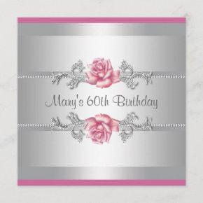 Pink Rose Womans Birthday Party Invitation
