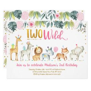 Pink Safari Two Wild Birthday Invitation