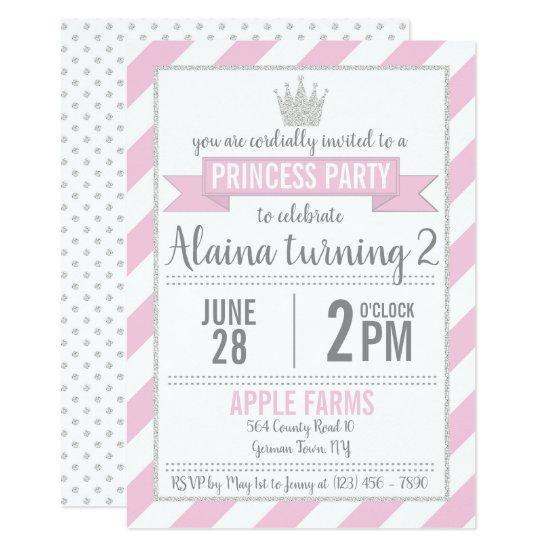 pink silver glitter princess birthday invitations candied clouds