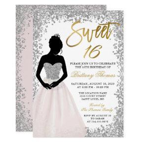 Pink Silver Glitter Sweet Sixteen 16 Birthday Invitation
