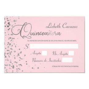 Pink Silver RSVP Quinceanera Spanish Response