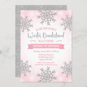 Pink Silver Winter ONEderland 1st Birthday Invite