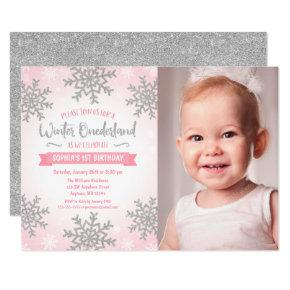 Pink Silver Winter ONEderland 1st Birthday Photo Invitation