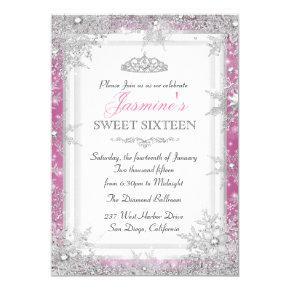 Pink Silver Winter Wonderland Sweet 16 Invitation