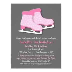 Pink Skates Ice Skating Birthday Party Invitations