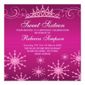 Pink Snowflake & Tiara Design Birthday Invitation
