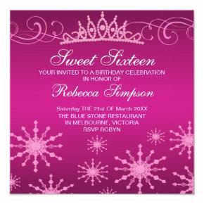 Pink Snowflake & Tiara Design Birthday Invitation