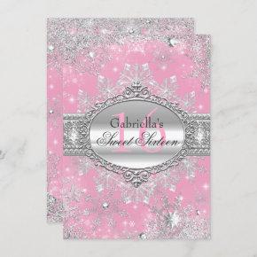 Pink Snowflake Winter Wonderland Sweet 16 Invite