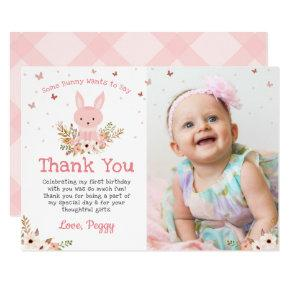 Pink Some Bunny Butterfly Birthday Photo Thank You Card