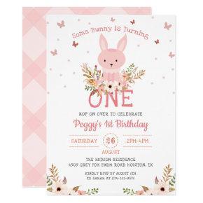 Pink Some Bunny Girl 1st Birthday Invitation