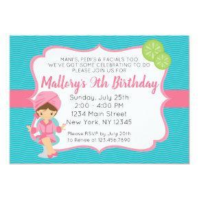 Pink Spa Birthday Invitation
