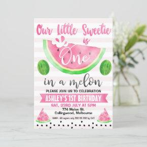Pink Striped One In A Melon 1st Birthday Invitation