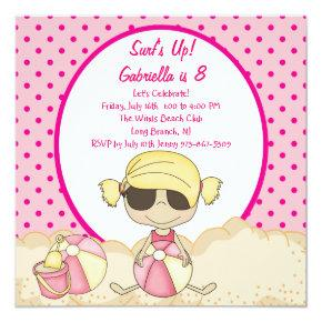 pink surfer girl beach party birthday invitations candied clouds