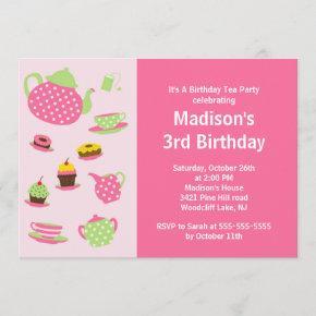 Pink Tea Party Birthday Party Invitation