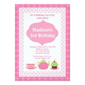 Pink Tea Party Photo Birthday Party Invitations