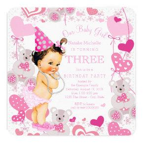 Pink Teddy Bears Hearts Girls 3rd Birthday Party Invitations