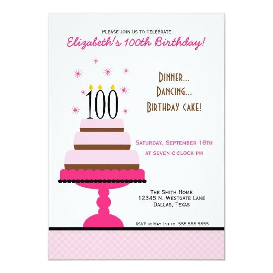 pink tiered cake 100th birthday party invitations candied clouds