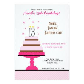 Pink Tiered Cake 13th Birthday Party Invitation