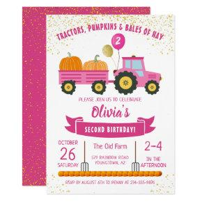 Pink Tractor Pumpkin Girls Autumn Birthday Invitation