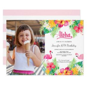 Pink | Tropical Flamingo Luau Photo Birthday Invitation