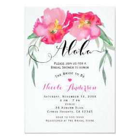 Pink Tropical Green Leaf Vine Floral Aloha Party Card