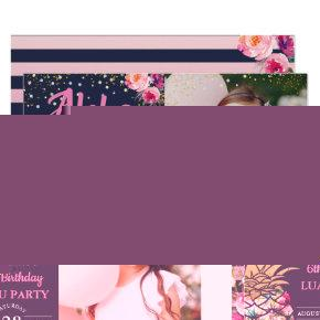 Pink Tropical Pineapple Navy Blue Birthday Photo Invitation